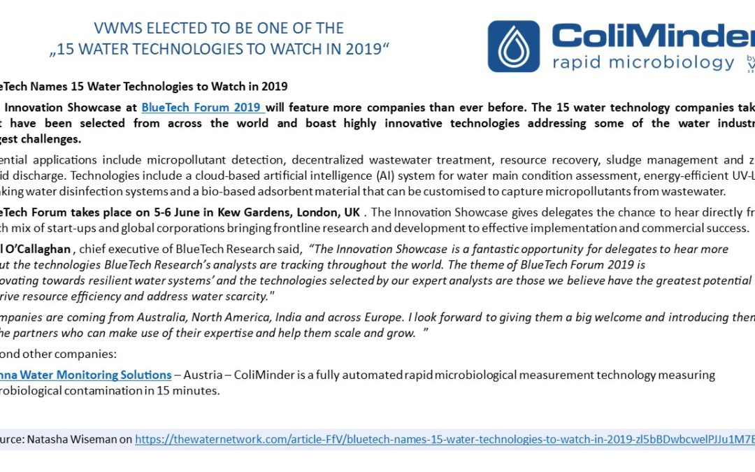 """VWMS elected to be one of the """"15 water technologies to watch in 2019"""""""